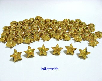 70pcs Big Size GOLD Color Origami Lucky Stars. (4D Glittering Paper Series).