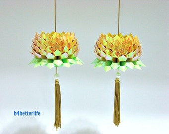 A Pair Of Goldenrod Color Medium Size Origami Hanging Lotus. (AV paper series).