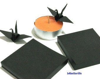 "200 Sheets 2"" x 2"" Black Color DIY Chiyogami Yuzen Paper Folding Kit for Origami Cranes ""Tsuru"". (KR paper series). #CRK-14."