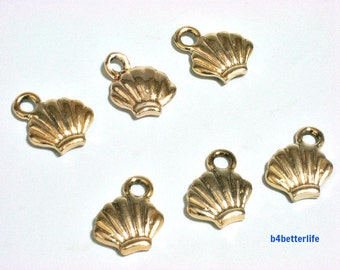 "6pcs Double Sided ""Seashell"" Gold Color Plated Metal Charms. #XX69."