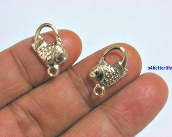 """Lot of 24pcs Double Sided """"Fish"""" Gold Color Plated Metal Charms. #XX184."""