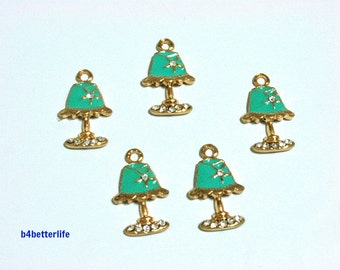 "Lot of 20pcs ""Table Lamp"" Gold Color Plated Enameled Metal Charms. #SW468."