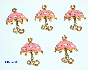 """Lot of 20pcs """"Umbrella"""" Gold Color Plated Enameled Metal Charms. #SW463."""