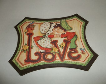 Vintage Children Kissing, Wooden Love Plaque, Wooden Wall Hanging. Love Wall Hanging