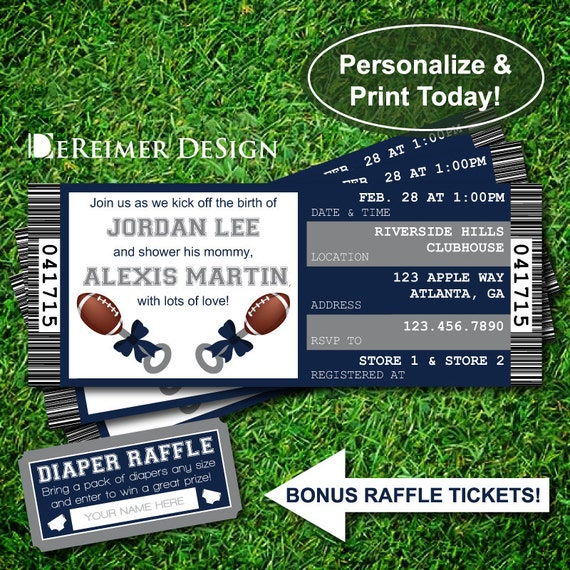 ... , Cowboys, Dallas, Football ... Baby Shower Raffle Ticket Template