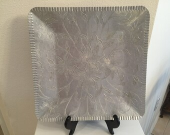 Vintage Square Hammered Aluminum Tray