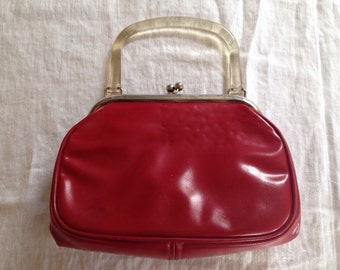 10% OFF SALE Vintage Red Handbag/ Purse with Clear Lucite Handle