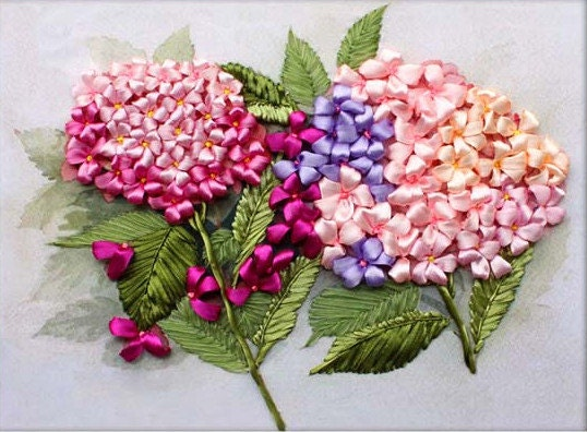 Ribbon embroidery diy kit flora pattern hyacinth flower