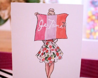 Illustrated Card Set - Valentine's Day: Je T'aime
