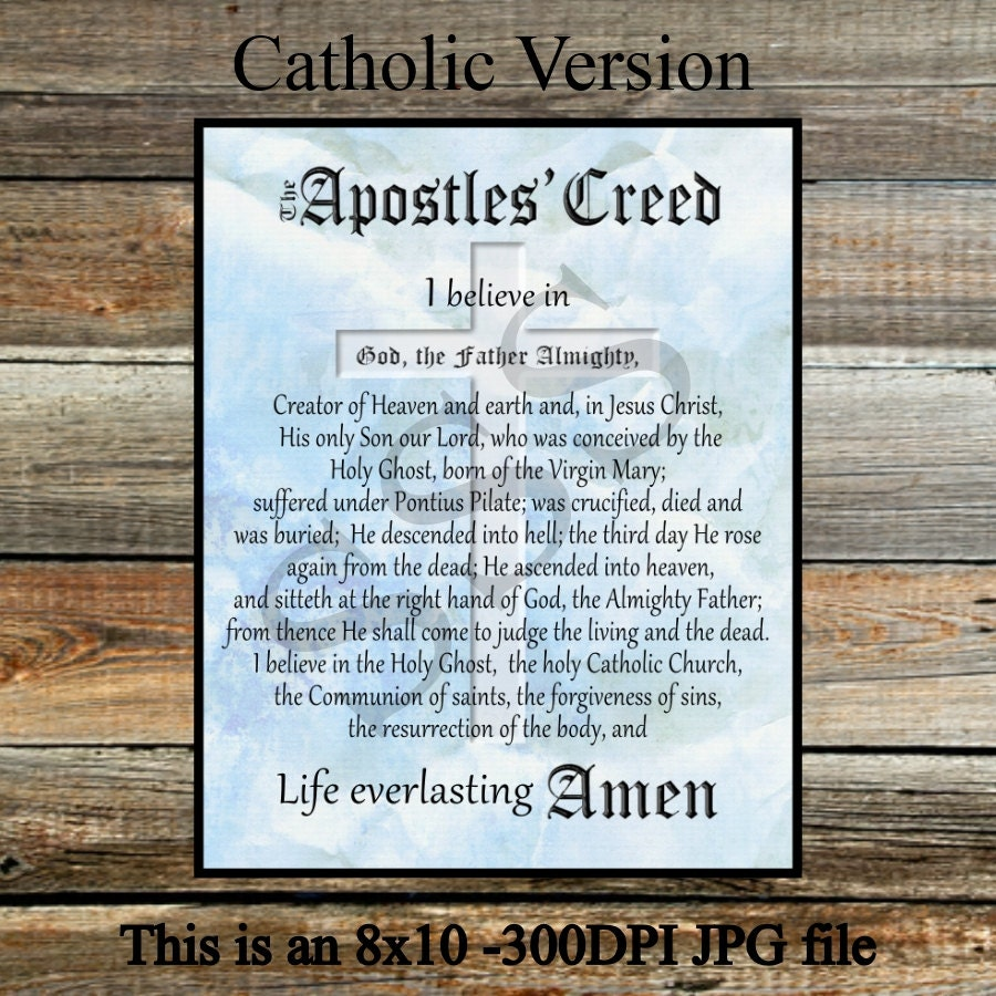 apostles creed The catholic apostles creed prayer is a general list of catholic beliefs the creed teaches the blessed trinity and is also the first prayer of the rosary.