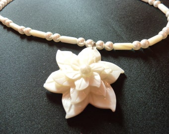 "BEEutiful Mother-of-Pearl Flower and Swarovski Pearl Wedding Necklace -- ""Heather"""