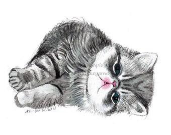 PRINT 7x5, 8x8, 10x8 / Exotic Shorthair /Persian Cat / Cat Painting / Cat Illustration / Cat Print / Cat Drawing / Art Print / Cat Art Print