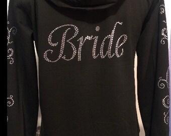 Wedding, Bride, Black Zipper Bride Jacket