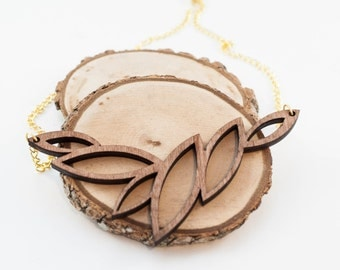Leaf Pattern Necklace | Wood jewelry