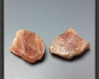 Sunstone from Tanzania - Natural - Rough 2 stones -  22 to 23mm long