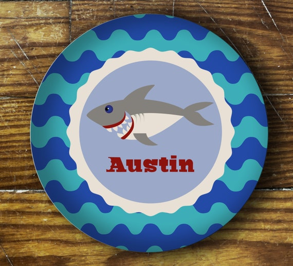 Personalized Dinner Plate or Bowl-Shark