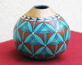 Southwestern Hand-painted Gourd Pot #673 Geometric Design