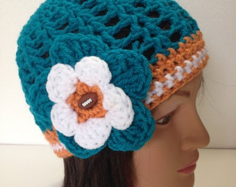 Miami Dolphins Hat, Crochet Football Hat,Womens crochet beanie with flower
