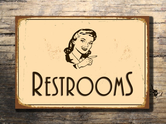 RESTROOM SIGN Vintage Style Aluminum By ClassicMetalSigns