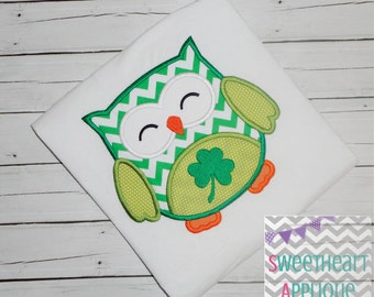 Shamrock Owl Applique Design, Shamrock Owl Machine Embroidery Applique, St. Patrick's Day Applique Design 4x4 5x7 6x10 8x8