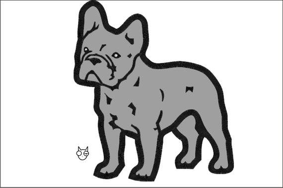 Bulldog Silhouette Applique French Bulldog Silhouette 7