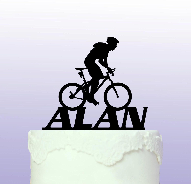 Cake Toppers Etsy Uk : Personalised Mountain Biking Cake Topper