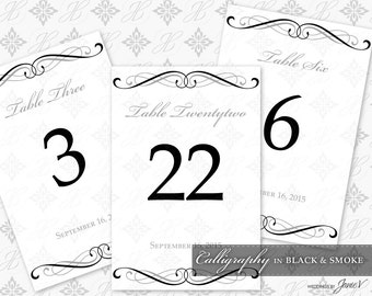 DIY Printable Wedding Table Number Template | Printable Table Setting Décor | Calligraphy in Black & Smoke