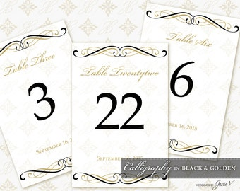DIY Printable Wedding Table Number Template | Printable Table Setting Décor | Calligraphy in Black & Golden