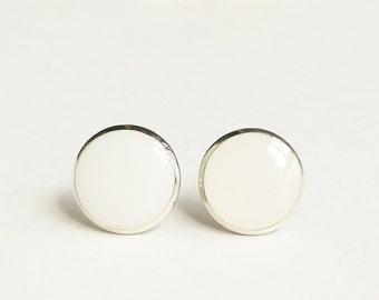White Earrings, White Round Stud Earrings, White Flat Top Stud Earrings, 12 mm Stud Earrings, Simple White Stud Earrings, Resin Jewelry,