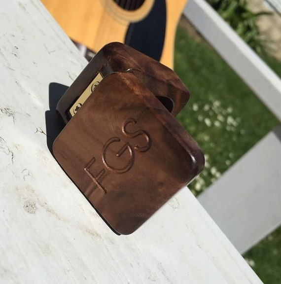 gift for him guitar pick box case personalized black walnut. Black Bedroom Furniture Sets. Home Design Ideas