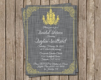 Vintage Wedding Invitation with Gray Linen Background and Yellow Chandelier - printable 5x7