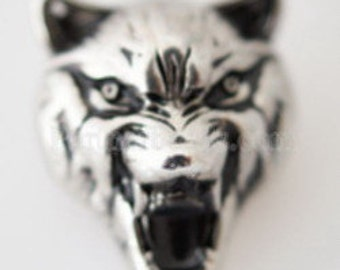 Clearance ~ KB7014 Antiqued Silver 3D Wolf's Head