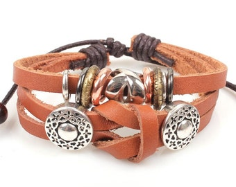 Clearance ~ 1 pc Knotted Brown Leather Boho Multilayer Bracelet with Charms