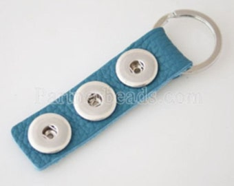 Full Grain Leather Teal Blue Keychain for Snap-It/Ginger Charms