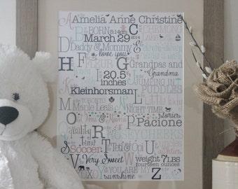 Cadeau bébé personnalisé, cadeau de bébé fille, impression de la chambre de bébé, faire-part de naissance, Nursery décor, cadeau de baptême, Baby Shower Gift, Kids Wall Art