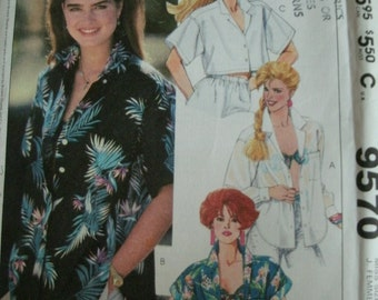 Misses Shirt and Bra Top Sizes 6-8 Easy McCalls Brooke Shields Pattern 9570 Rated Easy to Sew Vintage Pattern UNCUT PATTERN Date 1985