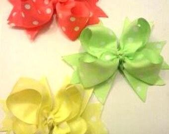 Neon Hair Bow Set , 3 Bow Set , Neon Boutique Hair Bow Set , Neon Polka Dot Hair Bows