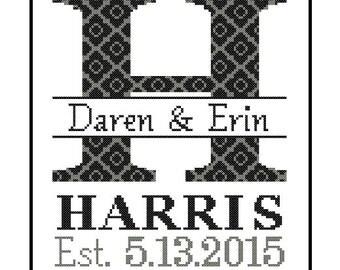 1 custom Monogram Cross Stitch Pattern Modern cross stitch monogram Initial Family Wedding Gift House Warming Wedding Record Anniversary