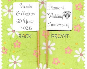 20 PERSONALISED DIAMOND 60th Wedding ANNIVERSARY Cup Cake Flag Cupcake Toppers
