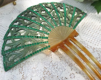 Antique Green Jeweled Art Deco Fan Hair Comb, celluloid faux tortoise, Mantilla, accessory, rhinestone, flamenco accessory