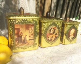 3 Vintage decorative Tin Canister set, Gold, Kitchen, Holland, Art, Painting, tea, flour, coffee, sugar, finial storage square box