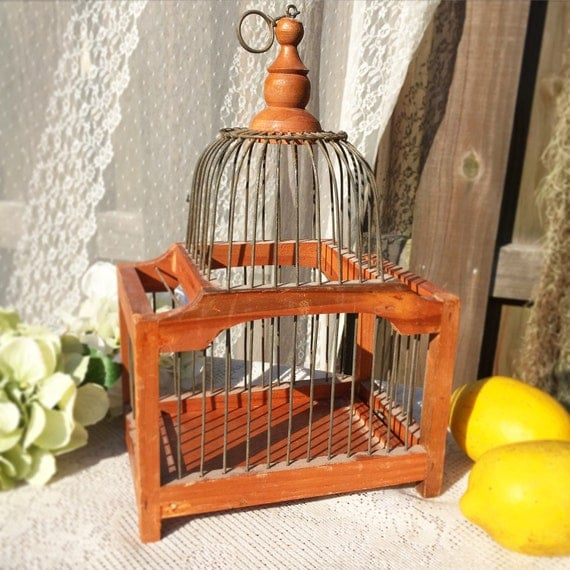 wood bird cage hanging decorative decor metal by wondercabinetarts. Black Bedroom Furniture Sets. Home Design Ideas