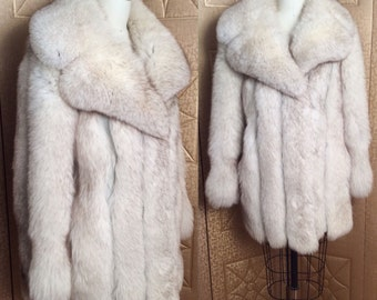 Vintage 70s 80s GLAM Fluffy Genuine Silver Arctic White Fox Fur Coat Jacket Leather Trim M L