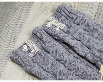 STORE CLOSING SALE Women Knitted Fashion Leg Warmers Trendy Boot Toppers with Crystals and Clusters in Gray