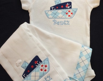 Baby Boy Monogramed and Appliqued 2 Piece Gift Set,0-3, 3-6, 6-12 and 18 months  Appliqued Boat Bodysuit and matching burpcloth