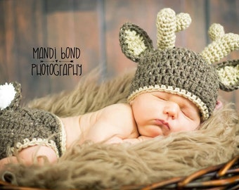 Baby Deer Hat with Diaper Cover Crochet Deer hat and Diaper Cover  Baby Animal outfit