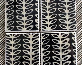 Black patterned ceramic drinks coasters, Scandinavian design coasters