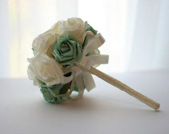 Mint Green Bridesmaid or throw bouquet, Pink with Pearls, Foam Flowers, Mint Green and cream