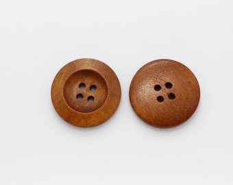 Large Wide Edge Four Holes Wood Buttons, Natural Wood Button, Brown Wooden Buttons, Four Holes Button, Wide Edge Button, Coat Button,28mm