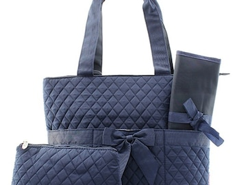 Navy Quilted diaper Bag